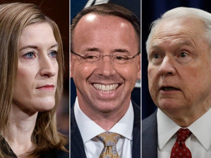 Left to right: Rachel Brand, Rod Rosenstein, and Jeff Sessions, the top three employees of President Donald Trump's Department of Justice (DOJ).