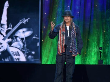 Kid Rock inducts Cheap Trick at the 31st Annual Rock And Roll Hall Of Fame Induction Ceremony at Barclays Center on April 8, 2016 in New York City. (Photo by Theo Wargo/Getty Images)