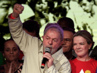 Former Brazilian President Luiz Inacio Lula da Silva (L) delivers a speech during the closing of the National Congress of the Workers' Party on June 3, 2017. Evaristo Sa—AFP/Getty Images