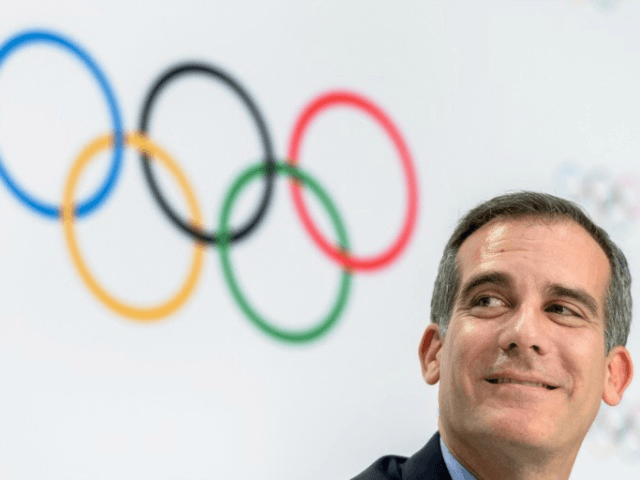 """Los Angeles' Mayor Eric Garcetti said that the city """"would be stupid"""" not to agree to host the Olympics in 2028"""