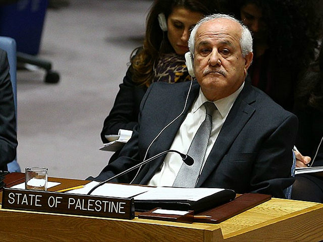 NEW YORK, UNITED STATES - DECEMBER 23: Palestinian representative to the UN Riyad Mansour attends the United Nations Security Council meeting in New York, United States on December 23, 2016. U.N. Security Council resolution that demands Israel stop settlement activities on Palestinian territories. (Photo by Volkan Furuncu/Anadolu Agency/Getty Images)