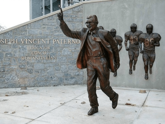 NY Daily News' Dick Weiss: Joe Paterno's statue on the Penn State campus still stands, but after the shocking scandal, it should be removed. (Pat Little/AP)