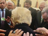 Televangelist Rodney Howard-Browne, a South African native who came to the United States in 1987, shared a post on Facebook about the prayer circle he led alongside his wife, Adonica Howard-Browne. The photo shows both Trump and Vice President Mike Pence in prayer: