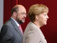 German Chancellor Angela Merkel (R) and European Parliament President Martin Schulz arive for a family photo after a meeting of European Union leaders in Brussels on June 28, 2012. EU leaders debate 'a big leap forward' to strengthen their union and save the euro at a two-day summit starting Thursday, …