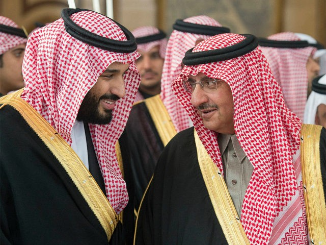 RIYADH, SAUDI ARABIA - DECEMBER 14 : Saudi defence minister and Deputy Crown Prince Mohammed bin Salman (L) and Deputy Crown Prince and the Minister of Interior of Saudi Arabia Muhammad bin Nayef (R) attend an opening ceremony of new Shura Council in Riyadh, Saudi Arabia on December 14, 2016. …
