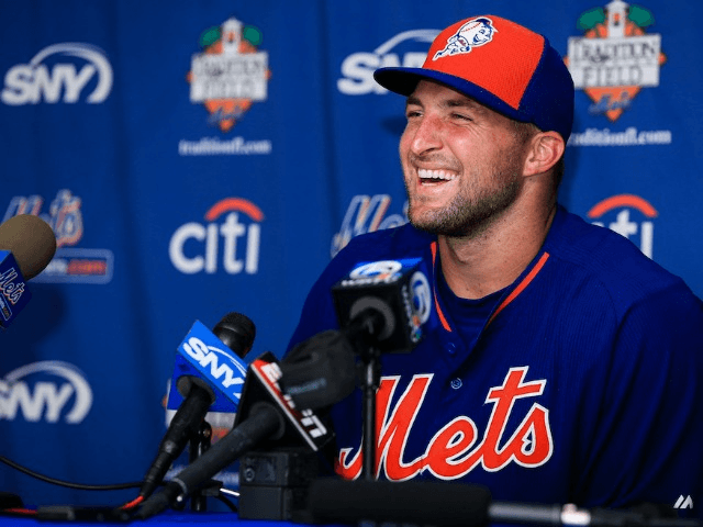 PORT ST. LUCIE, FL - SEPTEMBER 20: Tim Tebow #15 of the New York Mets speaks at a press conference after a work out at an instructional league day at Tradition Field on September 20, 2016 in Port St. Lucie, Florida. (Photo by Rob Foldy/Getty Images)