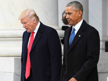 WASINGTON, DC - JANUARY 20: President Donald Trump and former President Barack Obama walk out prior to Obama's departure during the 2017 presidential inauguration at the U.S. Capitol January 20, 2017 in Washington, DC. Donald Trump was sworn in as the 45th President of the United States. (Photo by Jack …