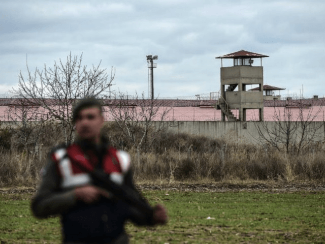 A Turkish Gendarmerie officer stands guard outside the Erdine Prison in Turkey | Yasmin Akgul/AFP via Getty Images