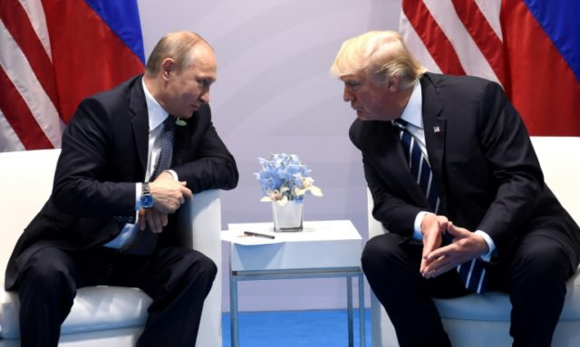 US President Donald Trump and Russia's President Vladimir Putin hold a meeting on the sidelines of the G20 Summit in Hamburg, Germany, on July 7, 2017
