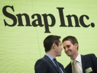 Snapchat co-founders Bobby Murphy, left, and Evan Spiegel, chief executive officer of Snap Inc., at the New York Stock Exchange on March 2. Snap shares have recently fallen below their IPO price on weak growth forecasts