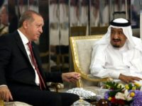 This photo released by Turkey's Presidential Press Service shows President Recep Tayyip Erdogan meeting Saudi Arabia's King Salman on July 23, 2017