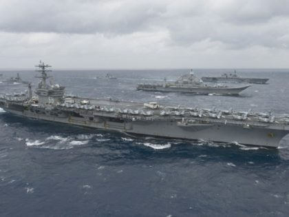 Aircraft carrier the USS Nimitz takes part in an exercise in the Bay of Bengal in July 2017 in this US Navy handout photograph