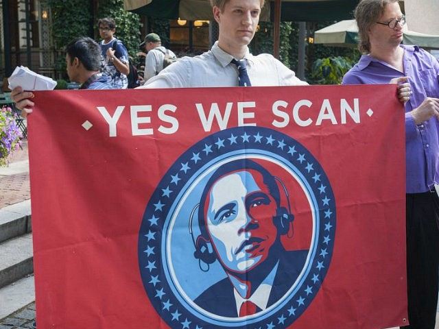 Protesters in midtown Manhattan in New York demonstrate against the National Security Agency's surveillance of Americans' telephone records on Sunday, August 4, 2013. The NSA has ended its warrantless broad surveillance program as required by law and will be replacing it with a more targeted program. (Photo by Richard Levine/Corbis …
