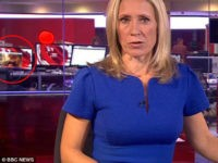 Viewers of a live BBC newscast got exposed to some explicit content after a video of a woman exposing her bare breasts playing on a computer screen in the background made it into the live shot of BBC News at Ten.