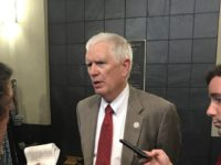 Rep. Mo Brooks (R-AL) speaks to reporters at the Jefferson County Republican Executive Committee meeting in Homewood, AL on August 10