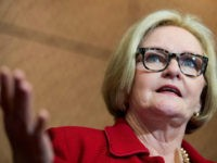 Sen. Claire McCaskill (D-MO) participates in the news conference with survivors of sexual assault to urge the Senate to pass the Campus Accountability and Safety Act on Tuesday, April 26, 2016. (Photo By Bill Clark/CQ Roll Call) (CQ Roll Call via AP Images)