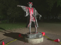 Christopher Columbus Statue, Houston, Texas. (Photo: KHOU Video Screenshot)