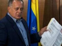 Diosdado Cabello, a prominent politician close to the Venezuelan government, in the general attorney's office in Caracas, Venezuela, 16 August 2017. Cabello handed in documents providing grounds for the opening of an investigation of a number of judicial officers. Cabello also argued for an investigation of the parliamentarian Ferrer, the husband of the recently dismissed general attorney Ortega. Photo by: Rayner Pena/picture-alliance/dpa/AP Images