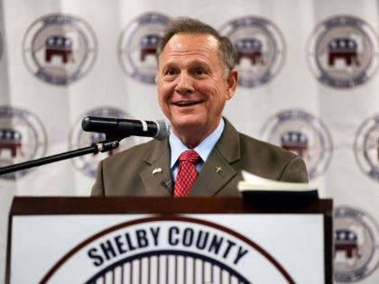UNITED STATES - AUGUST 4: GOP candidate for U.S. Senate Roy Moore speaks during the U.S. Senate candidate forum held by the Shelby County Republican Party in Pelham, Ala., on Friday, Aug. 4, 2017. The former Chief Justice of the Alabama Supreme Court is running in the special election to …