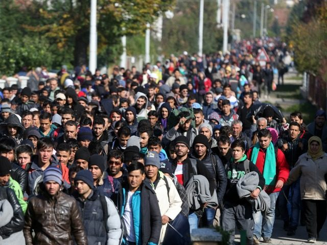 Around 2000 migrants who arrived by train, walk near the border town of Kljuc Brdovecki, on October 24, 2015, to cross the Croatia-Slovenia border. Crowds of refugees and other migrants camp by roads in western Balkan countries in worsening autumn weather after Hungary sealed its borders with Serbia and Croatia, …