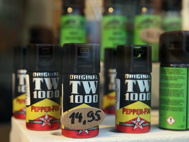BREMEN, GERMANY - FEBRUARY 25: Cans of pepper spray stand on display in the shop window of a hunting and weapons store on February 25, 2016 in Bremen, Germany. Retailers across Germany have reported a surge in sales of self-defense means, including alarm pistols and pepper spray, since the New …
