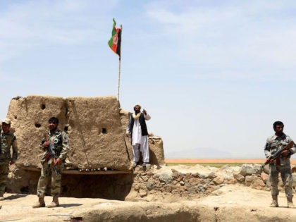 Afghan Border Police personnel keep watch during an ongoing battle between Pakistani and Afghan Border forces near the Durand line at Spin Boldak, in southern Kandahar province on May 5, 2017. Pakistani and Afghan officials have accused each other of killing civilians after gunfire erupted near a major border crossing …