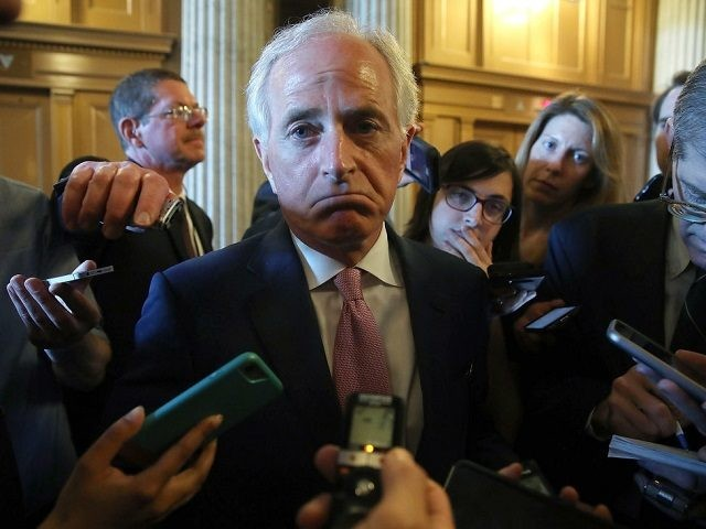 WASHINGTON, DC - MAY 10: Sen. Bob Corker (R-TN) speaks to reporters about President Trump's firing of FBI Director James Comey, on Capitol Hill May 10, 2017 in Washington, DC. (Photo by Mark Wilson/Getty Images)