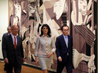 US Ambassador to the United Nations Nikki Haley (C), Japanese Ambassador Koro Bessho (L) and South Korean Ambassador Tae-yul Cho arrive to give a press briefing before a Security Council meeting on the situation in North Korea, at UN headquarters in New York on May 16, 2017. The United States …