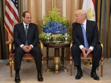 US President Donald Trump (R) and Egyptian President Abdel Fattah al-Sisi take part in a bilateral meeting at a hotel in Riyadh on May 21, 2017. / AFP PHOTO / MANDEL NGAN (Photo credit should read MANDEL NGAN/AFP/Getty Images)