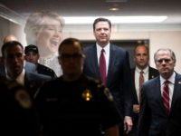 WASHINGTON, DC - JUNE 08: Former FBI Director James Comey leaves a closed session with the Senate Intelligence Committee in the Hart Senate Office Building on Capitol Hill June 8, 2017 in Washington, DC. Comey said that President Donald Trump pressured him to drop the FBI's investigation into former National Security Advisor Michael Flynn and demanded Comey's loyalty during the one-on-one meetings he had with president. (Photo by Drew Angerer/Getty Images)