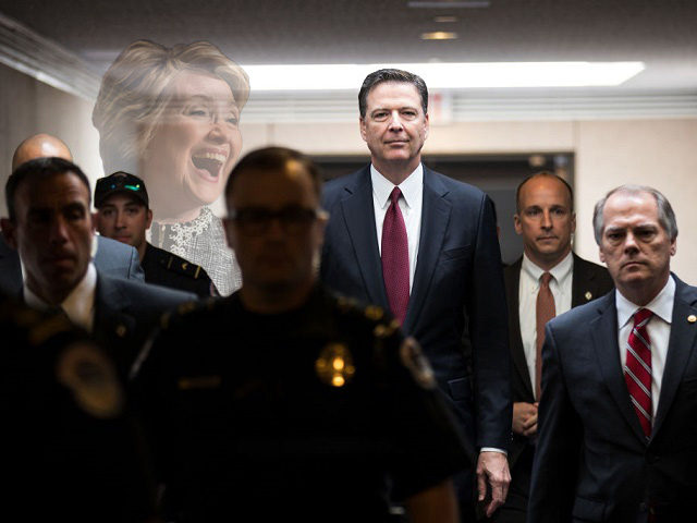 WASHINGTON, DC - JUNE 08: Former FBI Director James Comey leaves a closed session with the Senate Intelligence Committee in the Hart Senate Office Building on Capitol Hill June 8, 2017 in Washington, DC. Comey said that President Donald Trump pressured him to drop the FBI's investigation into former National …