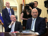 WASHINGTON, DC - JUNE 27: National Economic Council Director Gary Cohn (R) and National Security Adviser H. R. McMaster (L) sit in during a phone call between U.S. President Donald Trump and Irish Prime Minister Leo Varadkar in the Oval Office of the White House June 27, 2017 in Washington, …