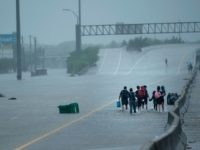 Evacuation residents from the Meyerland area walk onto an I-610 overpass for further help during the aftermath of Hurricane Harvey August 27, 2017 in Houston, Texas. Hurricane Harvey left a trail of devastation Saturday after the most powerful storm to hit the US mainland in over a decade slammed into Texas, destroying homes, severing power supplies and forcing tens of thousands of residents to flee. / AFP PHOTO / Brendan Smialowski (Photo credit should read BRENDAN SMIALOWSKI/AFP/Getty Images)