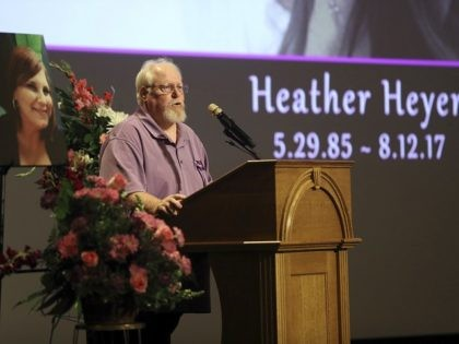 CHARLOTTESVILLE, VA - AUGUST 16: Mark Heyer, the father of Heather Heyer, speaks during a memorial service for his daughter at the Paramount Theater on August 16, 2017 in Charlottesville, Va. Heyer was killed Saturday, when a car rammed into a crowd of people protesting a white nationalist rally. (Photo …