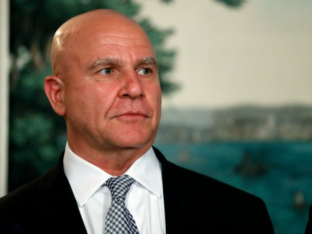 White House national security adviser H.R. McMaster stands in the Diplomatic Reception Room of the White House in Washington, Monday, Aug. 14, 2017, during an event for President Donald Trump to sign a memorandum calling for a trade investigation of China. (AP Photo/Alex Brandon)