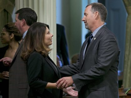 Melissa Melendez and Brian Dahle (Rich Pedroncelli / Associated Press)