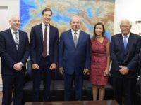 Netanyahu meets with U.S. delegation including Ambassador David Friedman, Jared Kushner, Dina Powell, Jason Greenblatt, on August 24, 2017, (Amos Ben Gershom/GPO)