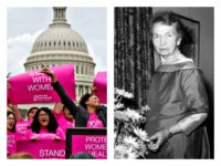 Planned Parenthood rally with Margaret Sanger collage
