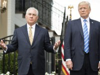 US President Donald Trump (R) speaks to the press with US Secretary of State Rex Tillerson (L) on August 11, 2017, at Trump National Golf Club in Bedminster, New Jersey. Trump said Friday that he was considering options involving the US military as a response to the escalating political crisis in Venezuela. / AFP PHOTO / JIM WATSON (Photo credit should read JIM WATSON/AFP/Getty Images)