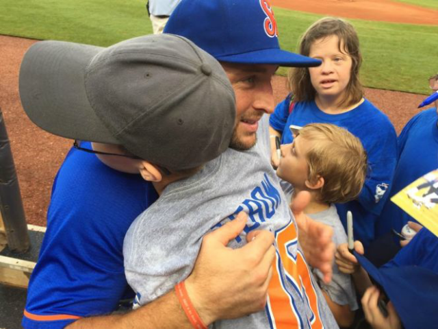 Tim Tebow Hugs an Autistic Fan Then Smashes a Three Run Homer			Ileanna Bosch  Facebook		by Dylan Gwinn10 Aug 20170		10 Aug 2017		10 Aug 2017