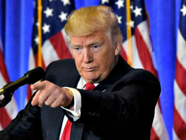Trump Points Fake News Getty