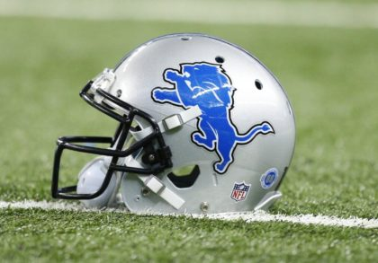 A Detroit Lions helmet is seen on the field before during the first half of an NFL football game against the Minnesota Vikings, Sunday, Oct. 25, 2015, in Detroit. (AP Photo/Rick Osentoski) ORG XMIT: otkco122