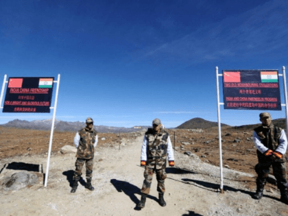 Indian military personnel guard Bumla pass on the India-China border, in north-eastern Arunachal Pradesh state