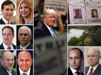 "President Donald Trump and warring White House factions on immigration policy: Jared Kushner, Ivanka Trump, Reince Priebus, Mike Pence, Gary Cohn, and H.R. McMaster vs. Stephen Miller, Jeff Sessions, border patrol agents, and ""Angel"" families who have lost loved ones murdered by illegal immigrants."