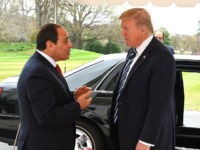 WASHINGTON, USA - APRIL 03 : (----EDITORIAL USE ONLY MANDATORY CREDIT - 'PRESIDENCY OF EGYPT / HANDOUT' - NO MARKETING NO ADVERTISING CAMPAIGNS - DISTRIBUTED AS A SERVICE TO CLIENTS----) U.S. President Donald Trump (R) welcomes Egyptian President Abdel Fattah el-Sisi before their meeting at the White House in Washington, United States on April 3, 2017. (Photo by Presidency of Egypt / Handout/Anadolu Agency/Getty Images)