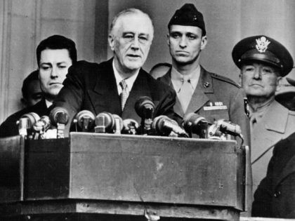 President Franklin D. Roosevelt speaks at his Inauguration for the 4th time January 20, 1945 in Washington D.C. (Photo by National Archive/Getty Images)