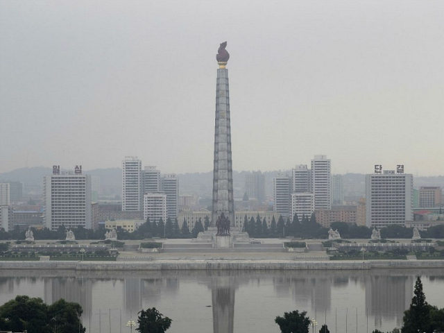 The Juche tower and Taedong river are seen on a hazy morning from the Grand People's Study House on Monday, July 24, 2017, in Pyongyang, North Korea. (AP Photo/Wong Maye-E)