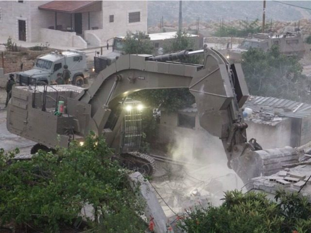 The August 16, 2017 demolition of the family home of 19-year-old Omar al-Abed, the terrorist behind the deadly terror attack in the settlement of Halamish on July 21, 2017, in the northern West Bank village of Kobar. (IDF Spokesperson's Office)