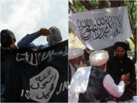 Islamic State flag and Taliban flag