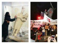 Collage of ISIS's destruction of Mosul statue and Antifa's destruction of Peace Monument in Atlanta.